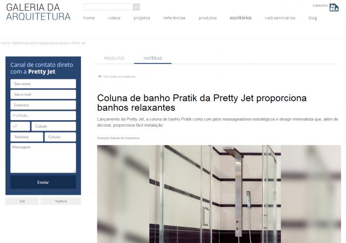 Coluna de banho Pratik da Pretty Jet proporciona banhos relaxantes